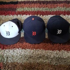 3LOT NEW ERA DETROIT TIGERS HATS 7 5/8